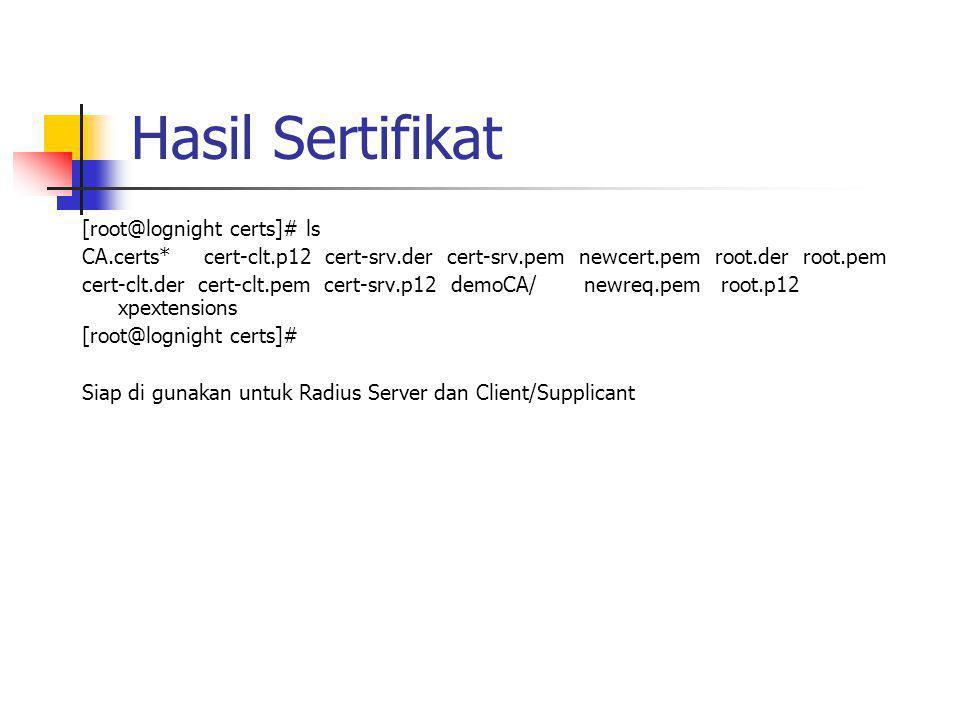 Hasil Sertifikat [root@lognight certs]# ls